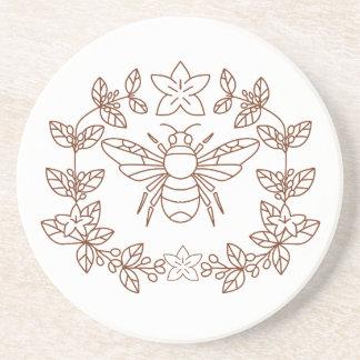 Dessous De Verre En Grès La fleur de café de bourdon part de l'icône