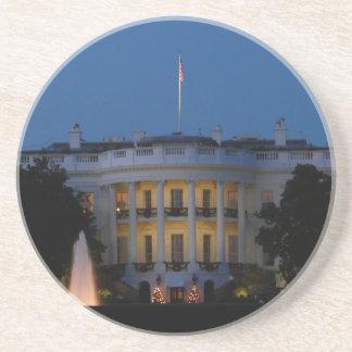 Dessous De Verre En Grès La Maison Blanche de Noël la nuit dans le