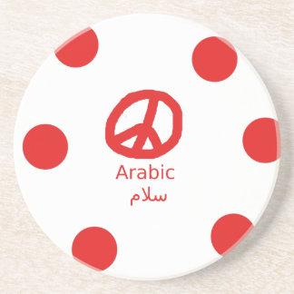 Dessous De Verre En Grès Langue et conception arabes de symbole de paix