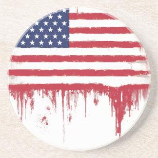 Dessous De Verre En Grès Le cru de drapeau américain éclabousse