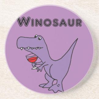Dessous De Verre En Grès Le dinosaure drôle avec du vin est un Winosaur