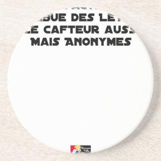 DESSOUS DE VERRE EN GRÈS LE FACTEUR DISTRIBUE DES LETTRES, LE CAFTEUR AUSSI