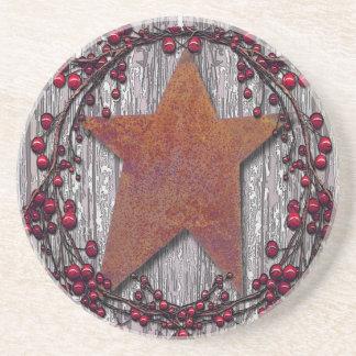 Dessous De Verre En Grès Les panneaux de grange se sont rouillés étoile
