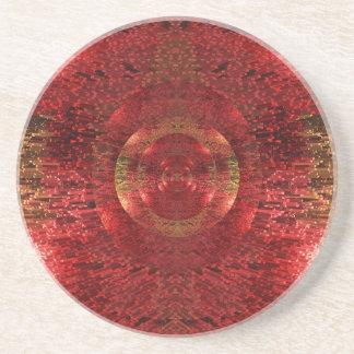 Dessous De Verre En Grès L'or lumineux et le motif 3D orange conçoivent