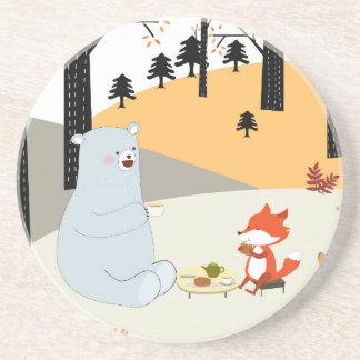 Dessous De Verre En Grès Loup mignon vintage de renard d'été de ressort et