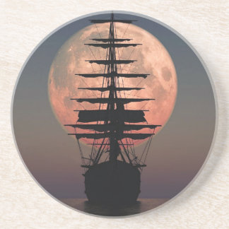 Dessous De Verre En Grès Lune de pirate de navigation