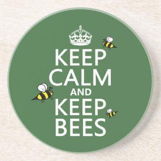 Dessous De Verre En Grès Maintenez calme et gardez les abeilles - toutes