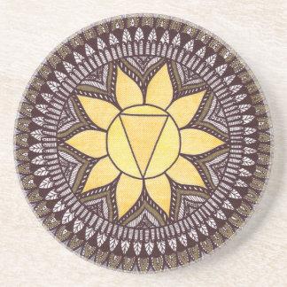 Dessous De Verre En Grès Mandala de Chakra de plexus solaire