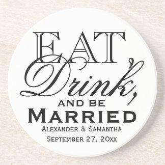 Dessous De Verre En Grès Mangez, buvez, et soyez mariage fait sur commande
