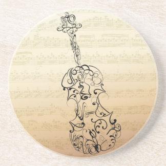 Dessous De Verre En Grès Manuscrit de Bach de gribouillage de violon