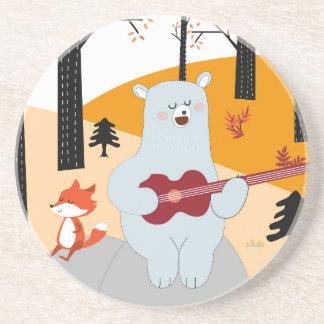 Dessous De Verre En Grès Mignon chantez un loup de renard de chanson d'été