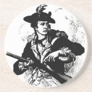 Dessous De Verre En Grès Minuteman révolutionnaire de guerre avec l'arme à