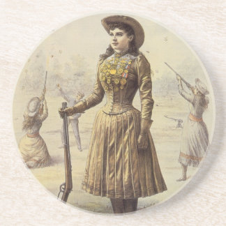 Dessous De Verre En Grès Mlle vintage Annie Oakley, cow-girl occidentale