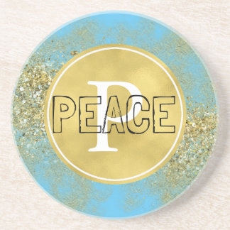 Dessous De Verre En Grès Monogramme de paix de scintillement de Faux d'or