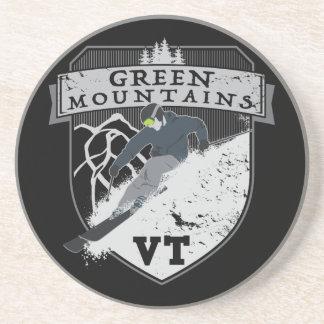 Dessous De Verre En Grès Montagnes vertes de ski, VT