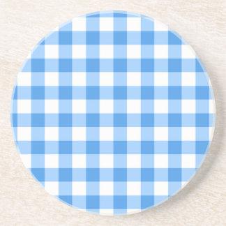 Dessous De Verre En Grès Motif bleu et blanc de contrôle de guingan
