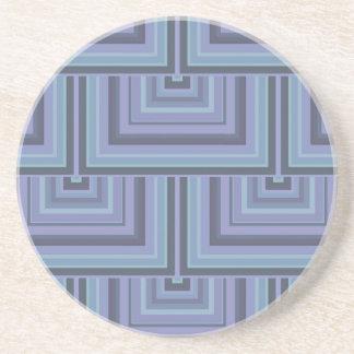 Dessous De Verre En Grès motif Bleu-gris d'échelles de carré de rayures