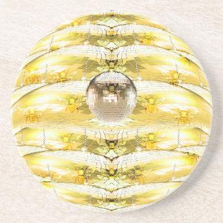 Dessous De Verre En Grès Motif de ruche d'abeille de boule de disco