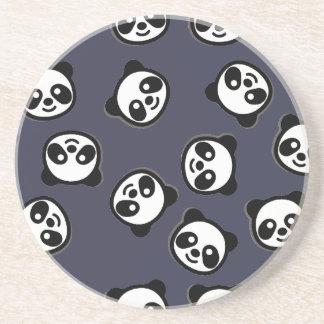 Dessous De Verre En Grès Motif noir et blanc de bande dessinée de panda