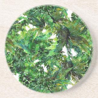 Dessous De Verre En Grès Motif vert de chute de forêt de fougère