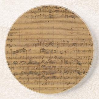 Dessous De Verre En Grès Musique de feuille vintage par Johann Sebastian