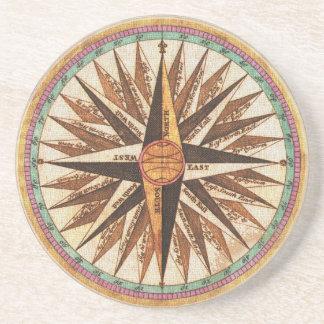 Dessous De Verre En Grès Navigation vintage de navigateur de la boussole du