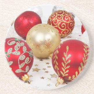Dessous De Verre En Grès Noël brillant a scintillé des ornements - rouge