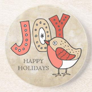 Dessous De Verre En Grès Noël rustique d'oiseau joyeux