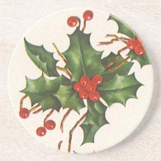 Dessous De Verre En Grès Noël vintage, usine de houx avec les baies rouges
