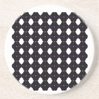 Dessous De Verre En Grès Noir de dentelle sur le blanc
