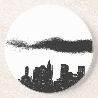 Dessous De Verre En Grès Noir NYC blanc New York City d'art de bruit