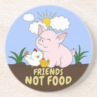 Dessous De Verre En Grès Nourriture d'amis pas - porc et poulet mignons
