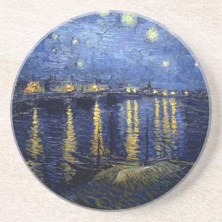 Dessous De Verre En Grès Nuit étoilée de Van Gogh au-dessus du Rhône