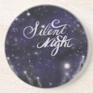 Dessous De Verre En Grès Nuit silencieuse - scène romantique de neige de