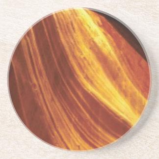 Dessous De Verre En Grès orange et écoulement rouge