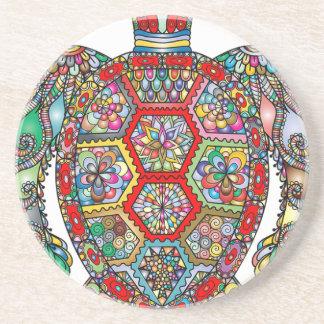 Dessous De Verre En Grès Ornamental décoratif de fleurs florales de tortue