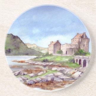 Dessous De Verre En Grès Peinture d'aquarelle de château d'Eilean Donan