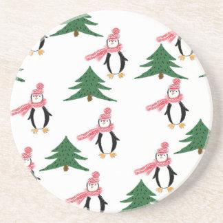 Dessous De Verre En Grès Petit pain de pingouin de Noël