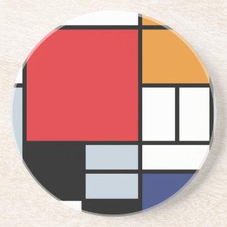 Dessous De Verre En Grès Piet Mondrian - composition avec le grand avion