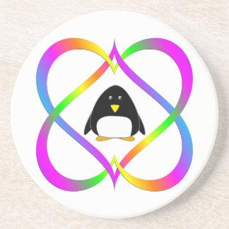 Dessous De Verre En Grès Pingouin d'amusement en liant des coeurs