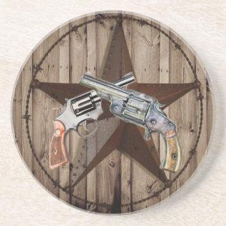 Dessous De Verre En Grès pistolets rustiques de cowboy d'étoile de Texas de