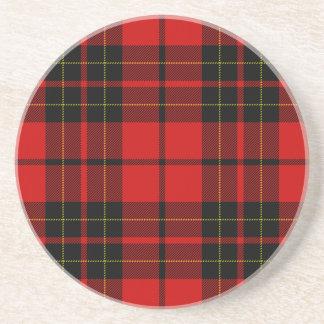 Dessous De Verre En Grès Plaid noir rouge de tartan de clan de Brodie