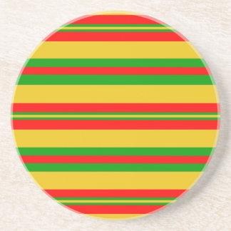 Dessous De Verre En Grès Rayures jaunes, rouges et vertes 2 du Bénin
