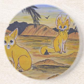 Dessous De Verre En Grès Renards de Fennec dans le désert