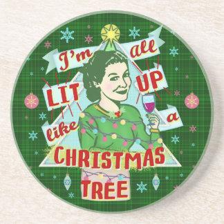 Dessous De Verre En Grès Rétro Lit potable de femme d'humour de Noël drôle