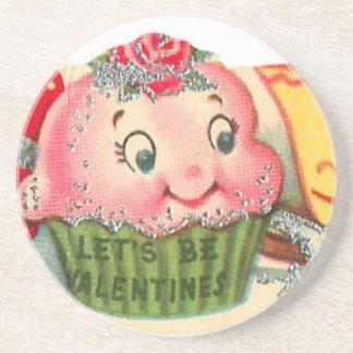 Dessous De Verre En Grès Rétro Saint-Valentin vintage de petit gâteau et de