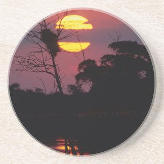 Dessous De Verre En Grès Rivière de Sabi au coucher du soleil, parc