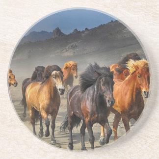 Dessous De Verre En Grès Ruée de chevaux