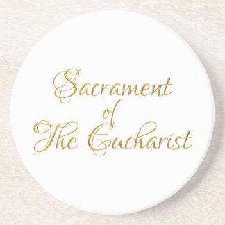 Dessous De Verre En Grès Sacrement du regard 3D d'or d'eucharistie