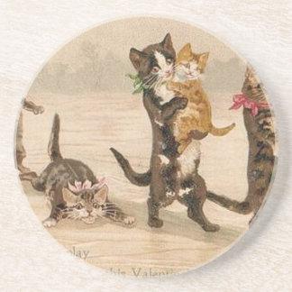 Dessous De Verre En Grès Saint-Valentin victorienne vintage de chatons de